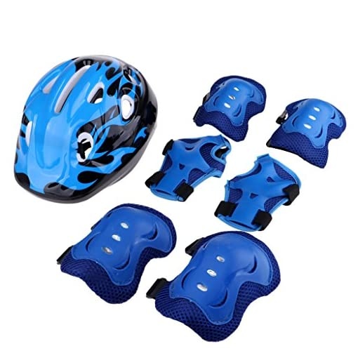 Baosity-Kids-Knee-Pads-Elbow-Pads-Wrist-Guards-and-58-62cm-Helmet-Set-for-Biking-Riding-Cycling-Skateboarding