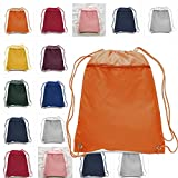 (12 Pack) Set of 12 Drawstring Polyester Backpack with Front Pocket (Mix Colors)