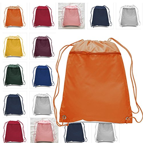 (12 Pack) Set of 12 Drawstring Polyester Backpack with Front Pocket (Mix - Mix Colors Online