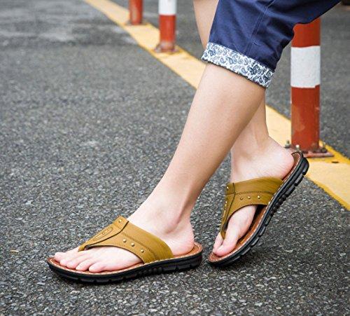Khaki da Scarpe da Spiaggia Sandali Antiscivolo Traspirante Toe Casual Suole Morbide LEDLFIE Estivi Uomo Clip Sandali Af5Hq
