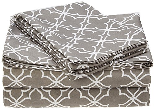 4 Pieces Ultra Soft Printed Bed Sheet Sets-Hypoallergenic Brushed Microfiber- Wrinkle and Fade Resistant, Quatrefoil Grey, King ()