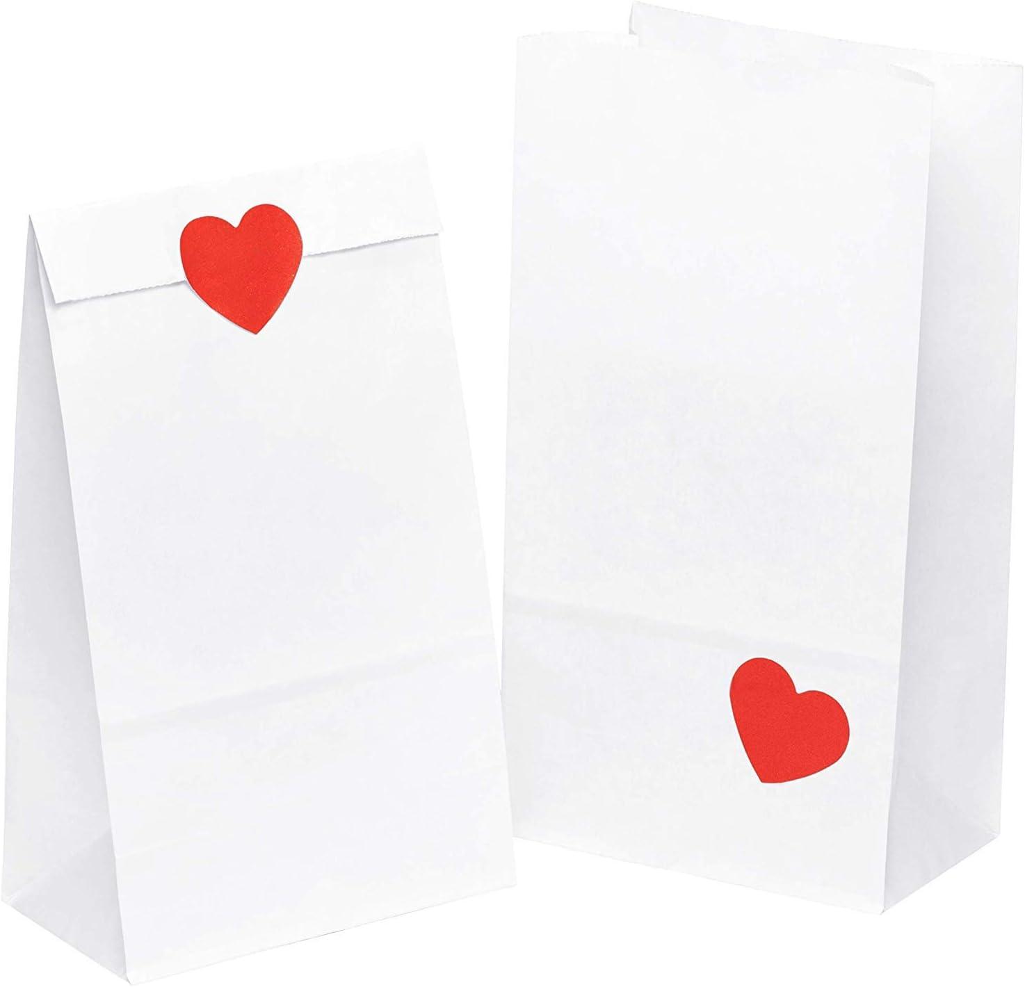Calendario dellavvento Paper Bag Buste Carta Kraft Borse per bomboniere kgpack 50x Sacchetto di Carta per Alimenti 14 x 26 x 8 cm Adesivo Cuore Sacco di Carta per la conservazione del Cibo