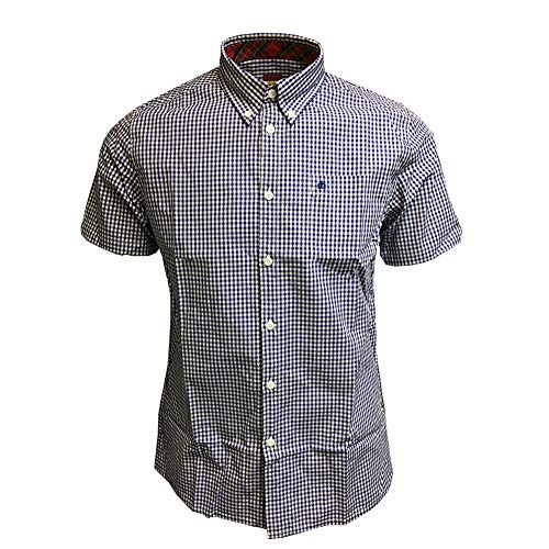 Merc London Mens Gingham Terry Mod Shirt Blue M (E Terry London)