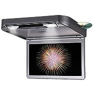 DDAUTO DD1336G Overhead Lecteur de DVD HD 1080P Flip Down Lecteur Multimédia pour Voiture avec Télécommande Gamepad Double Dôme Lumières LED Supporte USB SD HDMI Jeux 13,3 Pouces Gris