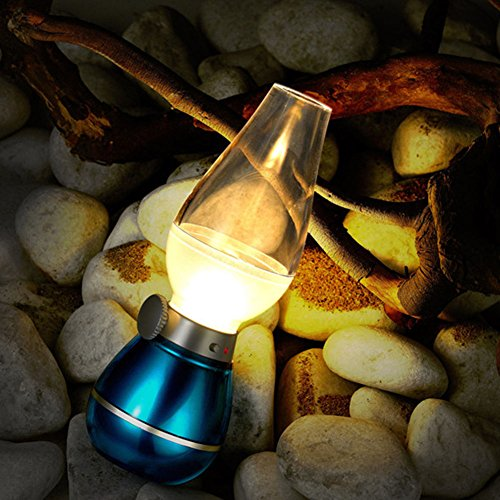 TZWNS Cool Table Light Rechargeable Blow Control LED Night Lamp classic kerosene lamp (blue)