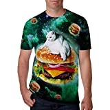 Leapparel Unisex Cat on Hamburger in Space Printed Graphic Novelty T Shirts Tees Clothes M