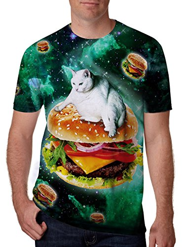 Leapparel Unisex Funny Cat and Hamburger Printed Personalized Cool T Shirts Tees Clothing XL