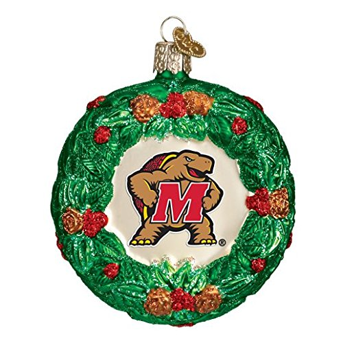 MARYLAND TERRAPINS GLASS WREATH ORNAMENT 3.5'' -