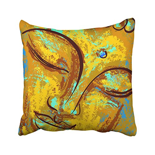 Emvency Abstract Spiritual Portrait of Buddha Imitation Oil Paint Pastel Chinese Thai Ancient Artistic Asia Asian Throw Pillow Cover Covers 18x18 Inch Decorative Pillowcase Cases Case Two Side