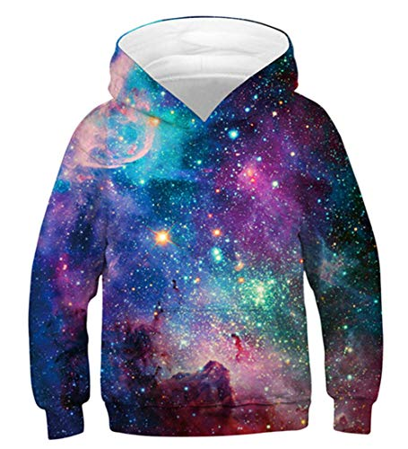 - AIDEAONE 3D Galaxy Print Sweatshirts Pullover Kids Hoodies with Front Pocket