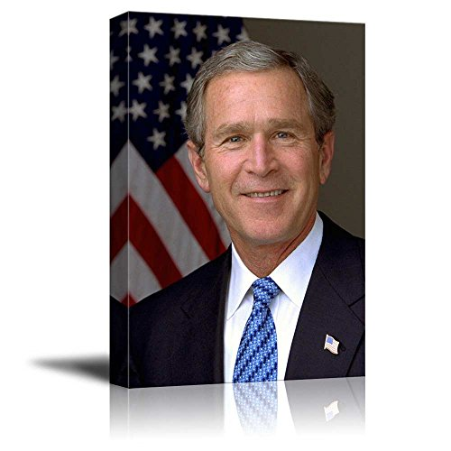 wall26 - Portrait of George W. Bush (43th President of The United States) - American Presidents Series - Canvas Wall Art Gallery Wrap Ready to Hang - 12x18 inches (George Bush Best President)