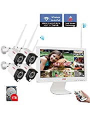 Tonton 1080P Full HD Wireless Security Camera System, 8CH NVR with 1TB HDD and 4PCS 1080P Waterproof Outdoor Cameras with 15inch Monitor
