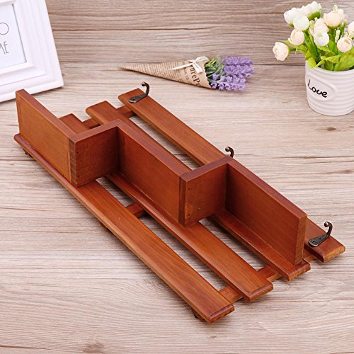 Whitelotous Wall Mounted Shelf Holder Storage Rack Wooden Organizer Hanging with 3 Hooks for Home Decor 15.35''x7.48''x3.14'' (Natural Wood) by Whitelotous (Image #2)