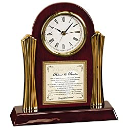 Wedding Gift Poetry Clock For Bride and Groom Wood Clock with Gold Accents Desk Clock Present Ideas For Newlyweds Congratulations Poem