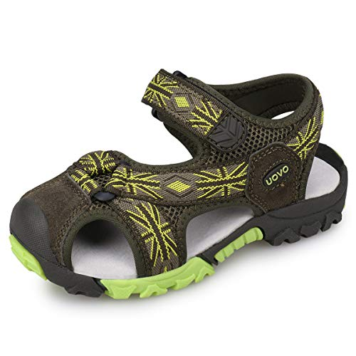 UOVO Boys Sandals Hiking Athletic Closed-Toe Beach Sandals Kids Summer Shoes (10 M US Little Kid, Khaki/Green)