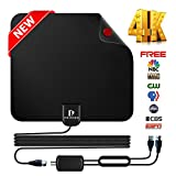 HDTV Antenna Indoor Digital TV Antenna, UPGRADED 2018 VERSION indoor HDTV Antenna Over 50 Miles Range with Detachable Amplifier HDTV Antenna Signal Booster for Indoor, 13FT High Performance Coax Cable