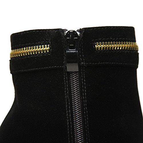 Toe Allhqfashion Women's Boots Frosted Black Zipper Solid Closed High Round Heels qwwr7dfYFx