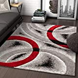 Well Woven Olly Red Geometric Stripes Thick Soft Plush 3D Textured Shag Area Rug 5x7 (5'3' x 7'3')