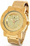 Super Techno Diamond Watch Genuine Diamond Watch Oversized Gold Tone Metal Band w/ 2 Interchangeable Watch Bands #M6917