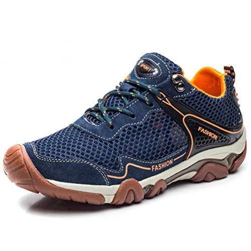 FLARUT Hiking Shoes for Men Outdoor Sports Backpacking Boots Breathable No-Slip Sneakers for Trekking Walking Mountaineering Fishing Climbing Hunting Running(A-Blue,EU46) by FLARUT