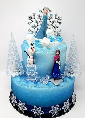 Frozen Themed Birthday Cake (Cake Toppers Winter Wonderland Princess Elsa Frozen Birthday Set Featuring Anna, Elsa, Olaf and Decorative Themed)