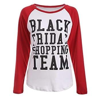 Women Blouse, MALLOOM Ladies BLACK FRIDAY SHOPPING TEAM Long Sleeves T-shirt Tops (XS)
