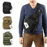 FAMI Outdoor Tactical Shoulder Backpack, Military & Sport Bag Pack Daypack for Camping, Hiking, Trekking, Rover Sling - Black