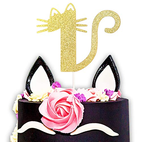 One Year Old Kitty Cat Gold Glitter Cake Topper - 1st Sweet Happy Birthday For Baby Shower Party Decorations Supplies