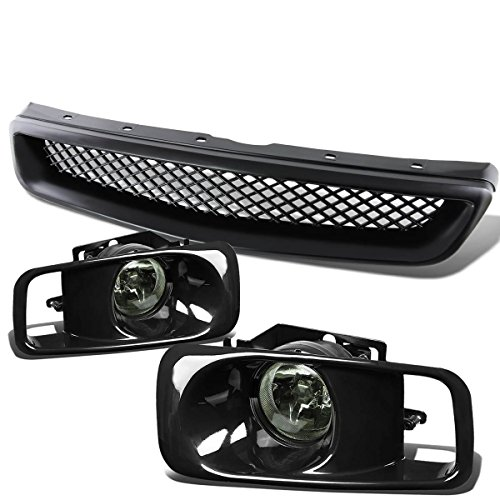 For Honda Civic 6th Gen Pair of Smoke Lens Bumper Fog Lamp+Bulbs+Switch+Black Front Grille (00 Civic Honda Grille)