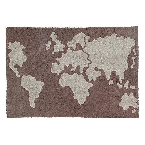Lorena Canals World Map Washable Children's Rug - Machine Washable, Perfect for the Nursery - Handmade from 100% Natural Cotton and Non-Toxic Dyes by Lorena Canals