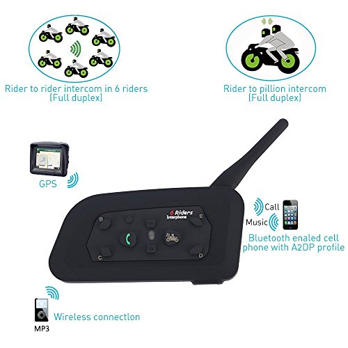 Bluetooth Motorcycle Helmet Headset Intercom,Fodsports V6 1200M Helmet Communication System,Handsfree Voice Command Wireless Headphone 6 Riders for Motorbike Skiing(Dual of soft cable) by Fodsports (Image #5)