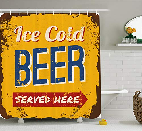 Ambesonne Man Cave Decor Shower Curtain by, Vintage Worn Out Rusty Sign Design Ice Cold Beer Served Here Beverage Print, Fabric Bathroom Decor Set with Hooks, 70 Inches, Multicolor (Beer Shower Curtain)