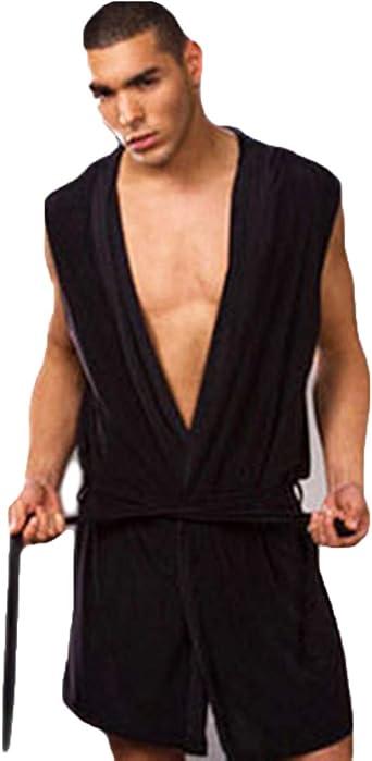 Men Sleeveless Short Bathrobe Robe Hooded Dressing Gown Nightwear White//Black