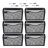 Kinwell 6 Pack Office Hanging Mesh Letter-Size Wall File Holder Organizer Single Vertical Collection Pocket Set Multi-Purpose Organizer Display Magazines Mail Sorter & Magazine Rack (Black)