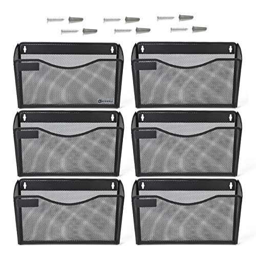(Kinwell 6 Pack Office Hanging Mesh Letter-Size Wall File Holder Organizer Single Vertical Collection Pocket Set Multi-Purpose Organizer Display Magazines Mail Sorter & Magazine Rack (Black))