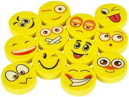 Cute Kids Emoticon Face Expressions Erasers Perfect for School Classroom Prizes Play Kreative Emoji Pencil Erasers 72 Pack Party Decorations /& Favors