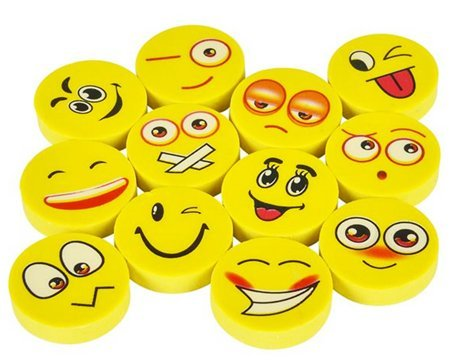 Play Kreative Emoji Pencil Erasers - 72 Pack - Cute Kids Emoticon Face Expressions Erasers Perfect for School Classroom Prizes, Party Decorations & Favors