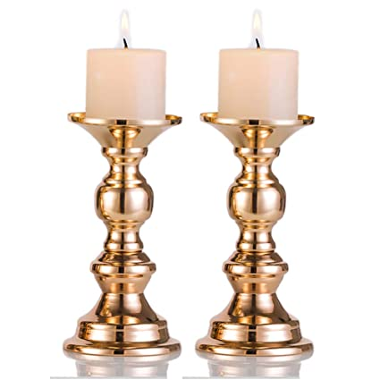 Amazon Set Of 2 Gold Metal Pillar Candle Holders For 2 Dia