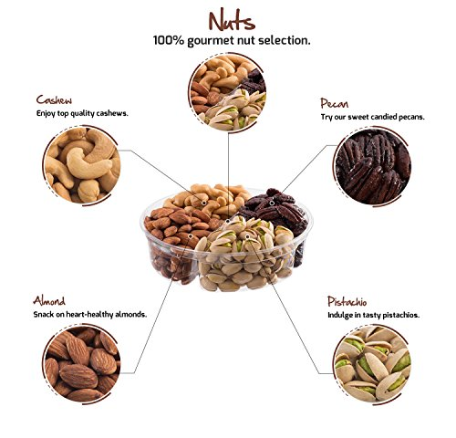 Nut Cravings Father's Day Gift Baskets - 4-Sectional Gourmet Mixed Nuts Prime Food Gift Tray - Healthy Holiday Gift Assortment For Birthday - Sympathy - Get Well - Corporate Gift Box - Or Any Occasion by Nut Cravings (Image #1)'