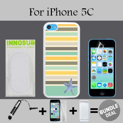 Seaside Stripe Starfish Custom iPhone 5C Cases-White-Rubber,Bundle 3in1 Comes with Screen Protector/Universal Stylus Pen by innosub