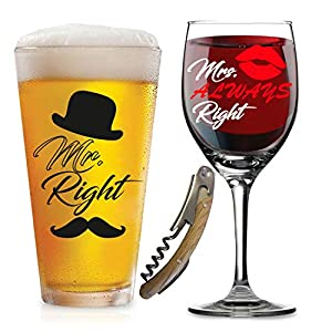Funny Wedding Gifts | Mr. Right and Mrs. Always Right Glasses Beer & Wine Glass | For Engagement, Gifts for Couples…
