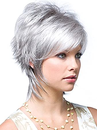 Amazon Com Gnimegil Fashion Female Silver Grey Hair Wigs For White Women Short Hairstyles Hair Replacement Wigs Cosplay Costume Party Wig Synthetic Fiber Ladies Wig Beauty