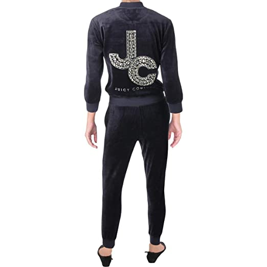 253ec1337ade Juicy Couture Women s Track Velour Encrusted JC Long Sleeve Jumpsuit Regal  Petite X-Small  Amazon.co.uk  Clothing