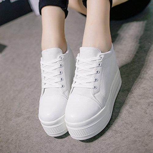 Cybling Vrouwen Platform Casual Sneaker Ronde Neus Verhogen Hoogte Dikke Zolen Mode Canvas Schoenen Wit