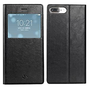 iPhone 7 Plus iPhone 8 Plus case,Simicoo Premium Leather Flip Smart Wallet Case With Card Slots Kicstand Magnetic Closure Clear TPU Bumper View Window Ultra Slim Case For iPhone 7&8 Plus (Black)