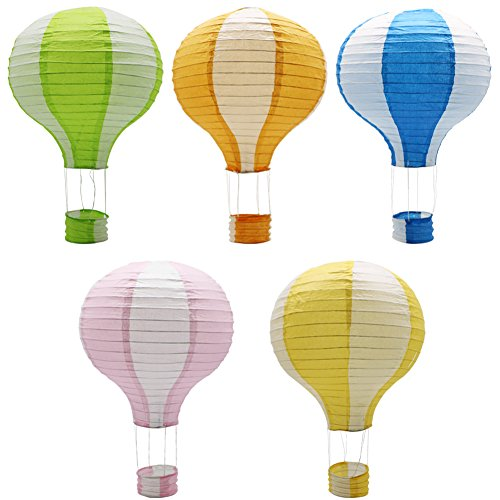 ADLKGG Hanging Hot Air Balloon Paper Lanterns Set Party Decoration Birthday Wedding Christmas Party Decor Gift, 12 inch, Pack of 5 -