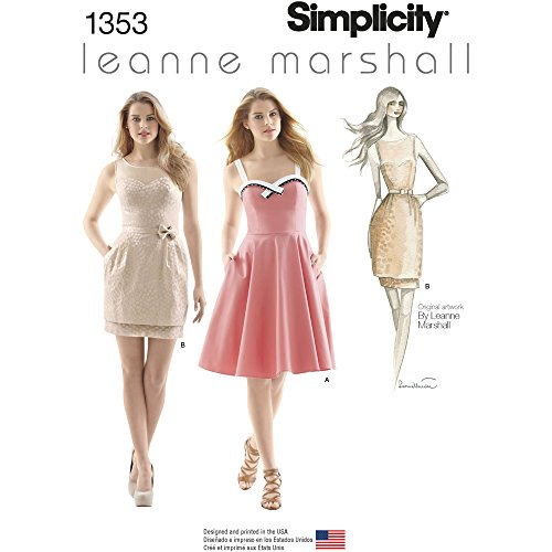 Simplicity Leanne Marshall Pattern 1353 Misses Dresses with Skirt and Bodice Variations, Size 12-14-16-18-20 -