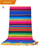 New | Alondra's Imports®️ (84'' x 15'') Elegantly Handwoven, Genuine Serape Table Runner (Mexican Table Runner, Fiesta Table Runner, Mexican Blanket, Zarape, Serape) (Golden Pink Diamond Blue)