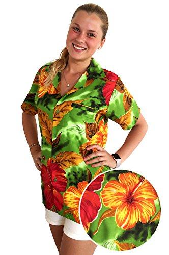 V.H.O Funky Hawaiian Blouse Women Short-Sleeve Front-Pocket Big Flower Multiple Colors