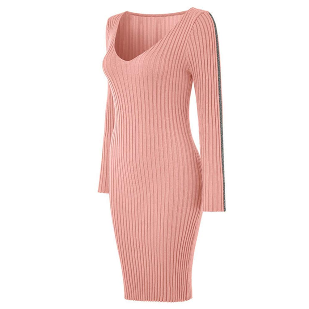 Dress Ladies Pencil Knitted Long Sleeve Women Sweater Party V Neck Bodycon